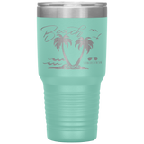 vacation tumblers - beach tumbler - beach please - palm trees and waves - living life in the sun