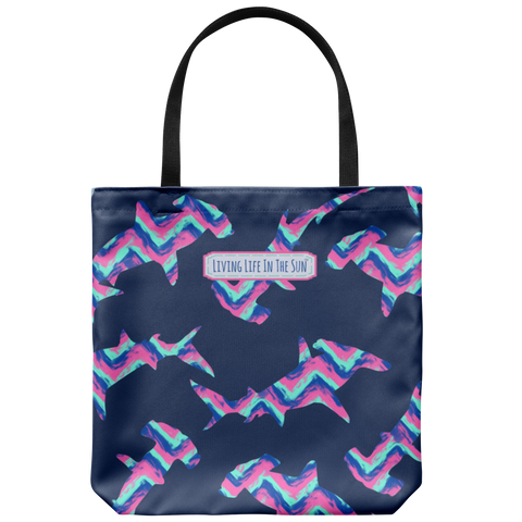southern beach bags - southern beach totes - chevron hammerhead print bag - summer tote bag - living life in the sun