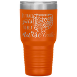 laser engraved tumblers - nursing student gifts - it takes guts to be a nurse - intestines anatomy cup - living life in scrubs
