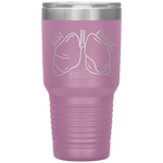 laser engraved tumblers - nursing student gifts - just breathe - lung anatomy cup - living life in scrubs