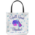southern beach bags - large totes with sayings - shell yeah beaches - sea shell shoulder bag - simply cute coastal vacation gift - living life in the sun