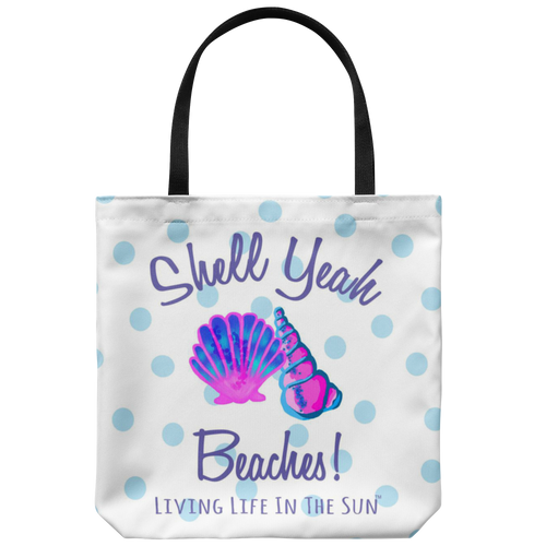 Shell Yeah, Seashell Tote, Beach Tote, Tote With Saying, Shell Yeah Beaches, Preppy Tote, Coastal Tote, Southern Tote, Bright Colorful Tote