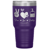 double wall insulated tumblers - registered nurse gifts - peace love sanitize - living life in scrubs