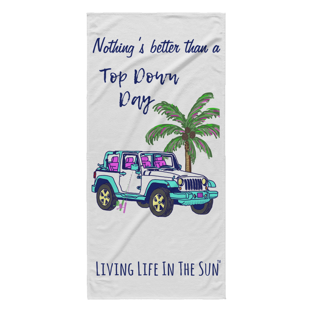 Living Life In The Sun, Top Down Day, Jeep Towel, Beach Towel, Southern Towel, Preppy Towel, Palm Tree Towel, Women's Fishing, Jeep Girl, Colorful Beach Towel, TDD