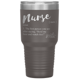 living life in scrubs - nurse definition - noun - the first person you see - hold my beer and watch this - stainless steel powder coated etched tumbler - vacuum sealed tumbler - coffee water alcohol - cold or hot mug - living life in the sun