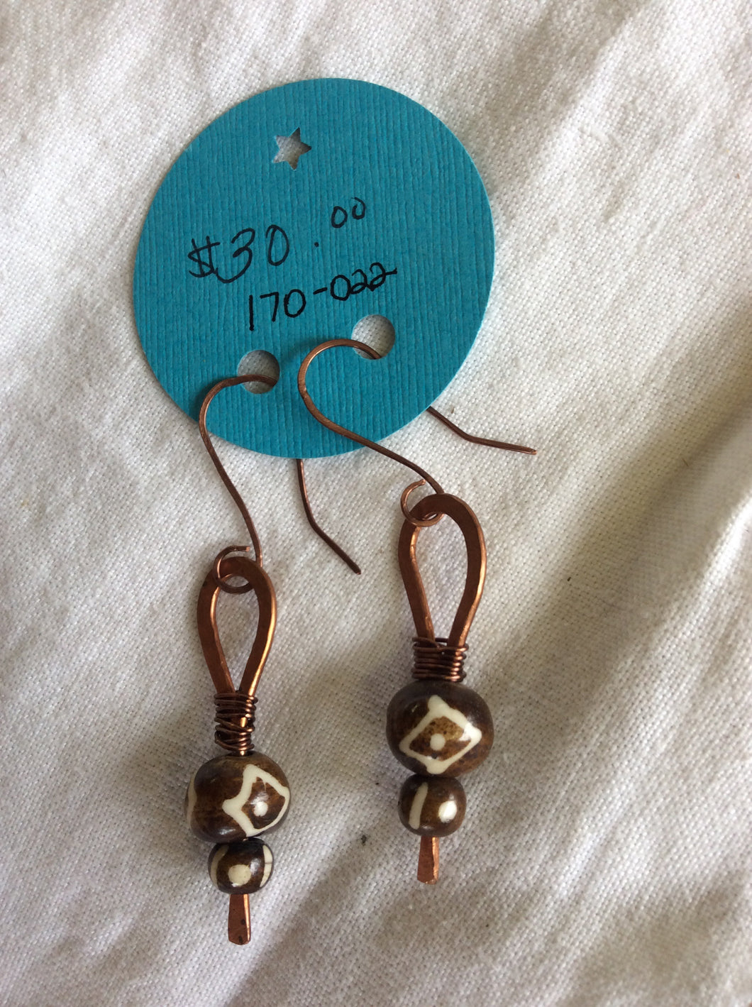 Copper and Beaded Earrings
