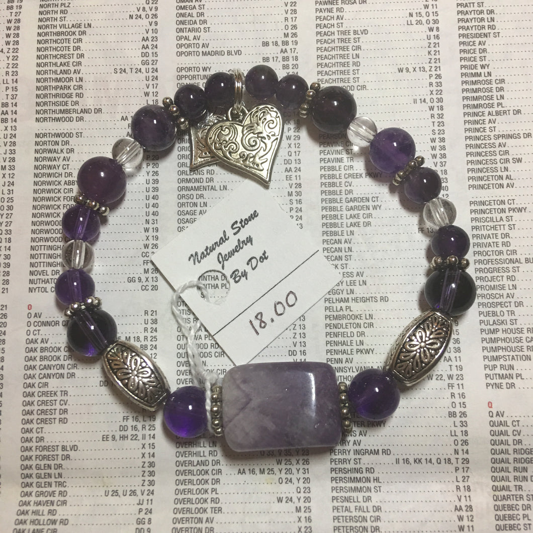 Amethyst and Clear Quartz Bracelet 7.5""