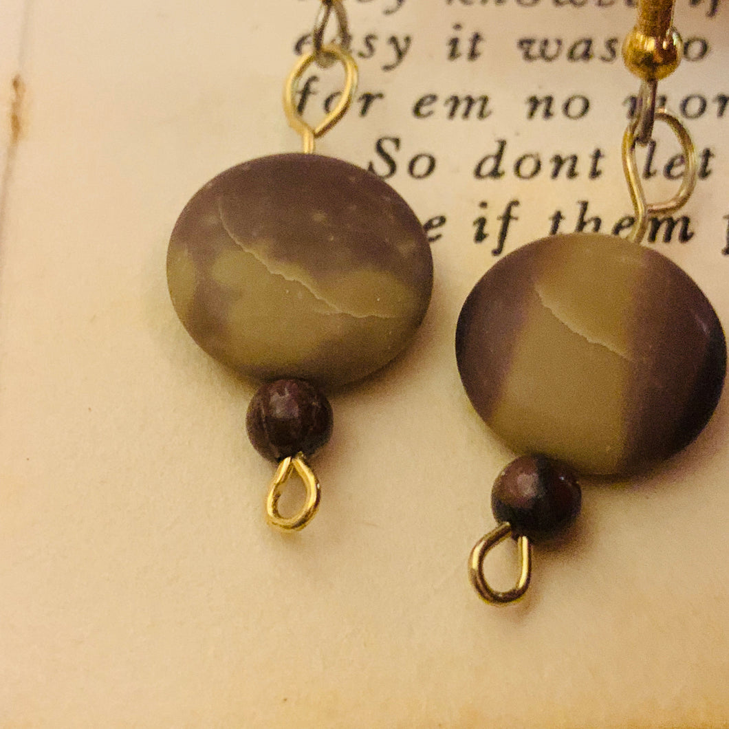 Cappuccino Jasper and Surgical Steel Earrings