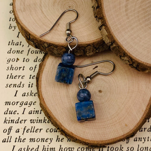 Lapis lazuli and surgical steel earrings