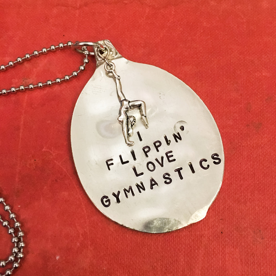 I Flippin' Love Gymnastics Necklace