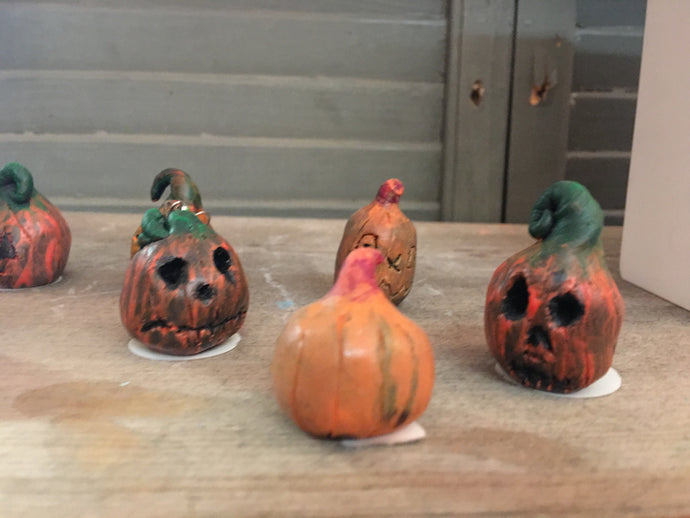 Mini Clay Pumpkin Sculptures