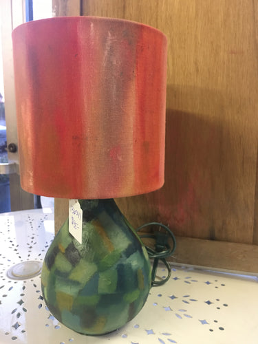 Orange and Green Hand-painted Lamp
