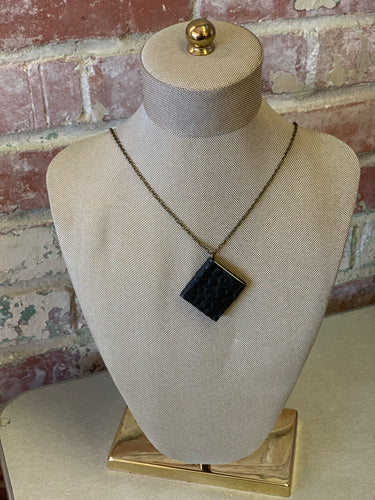 "24"" Textured Black Mini Leather Book Necklace"