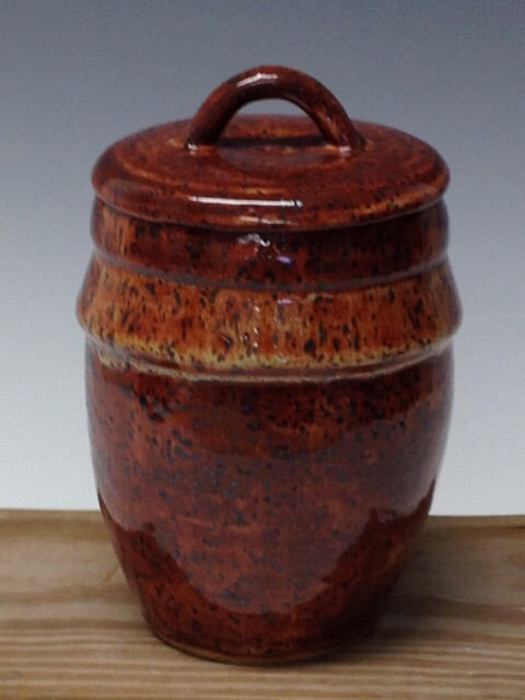 Brown Speckled Vessel with Lid