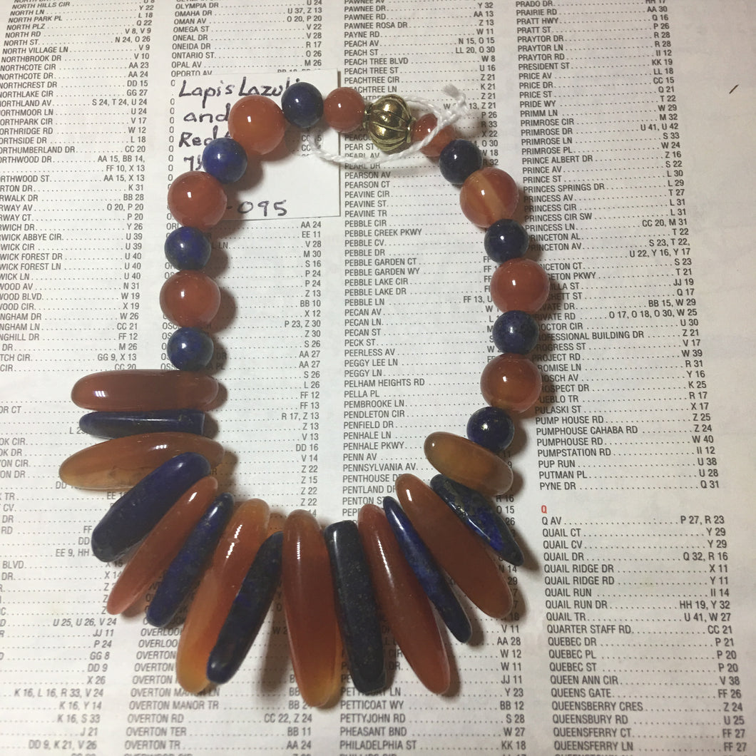 Lapis Lazuli and Red Agate Bracelet 7.5""