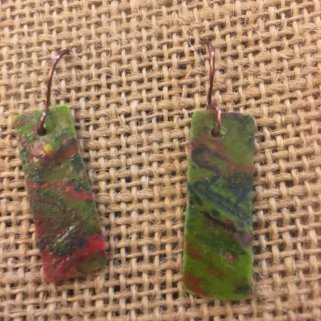 Copper and Poured Painting Earrings