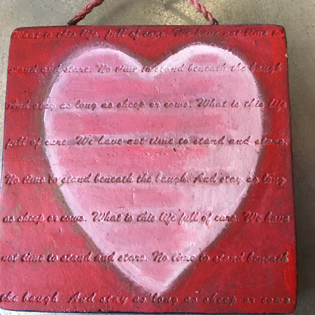 Hand Painted Heart Decorative Tile