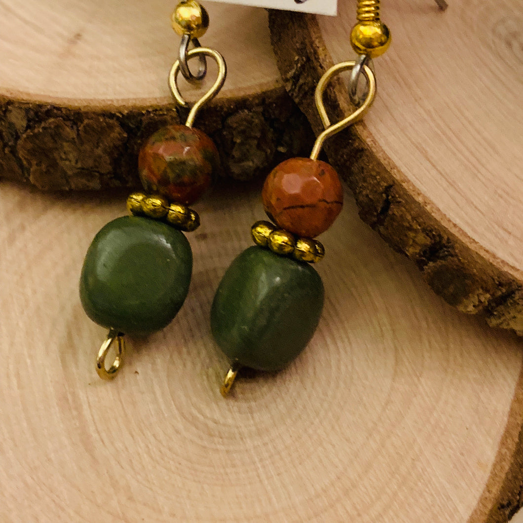 Unakite, Serpentine and Surgical Steel Earrings