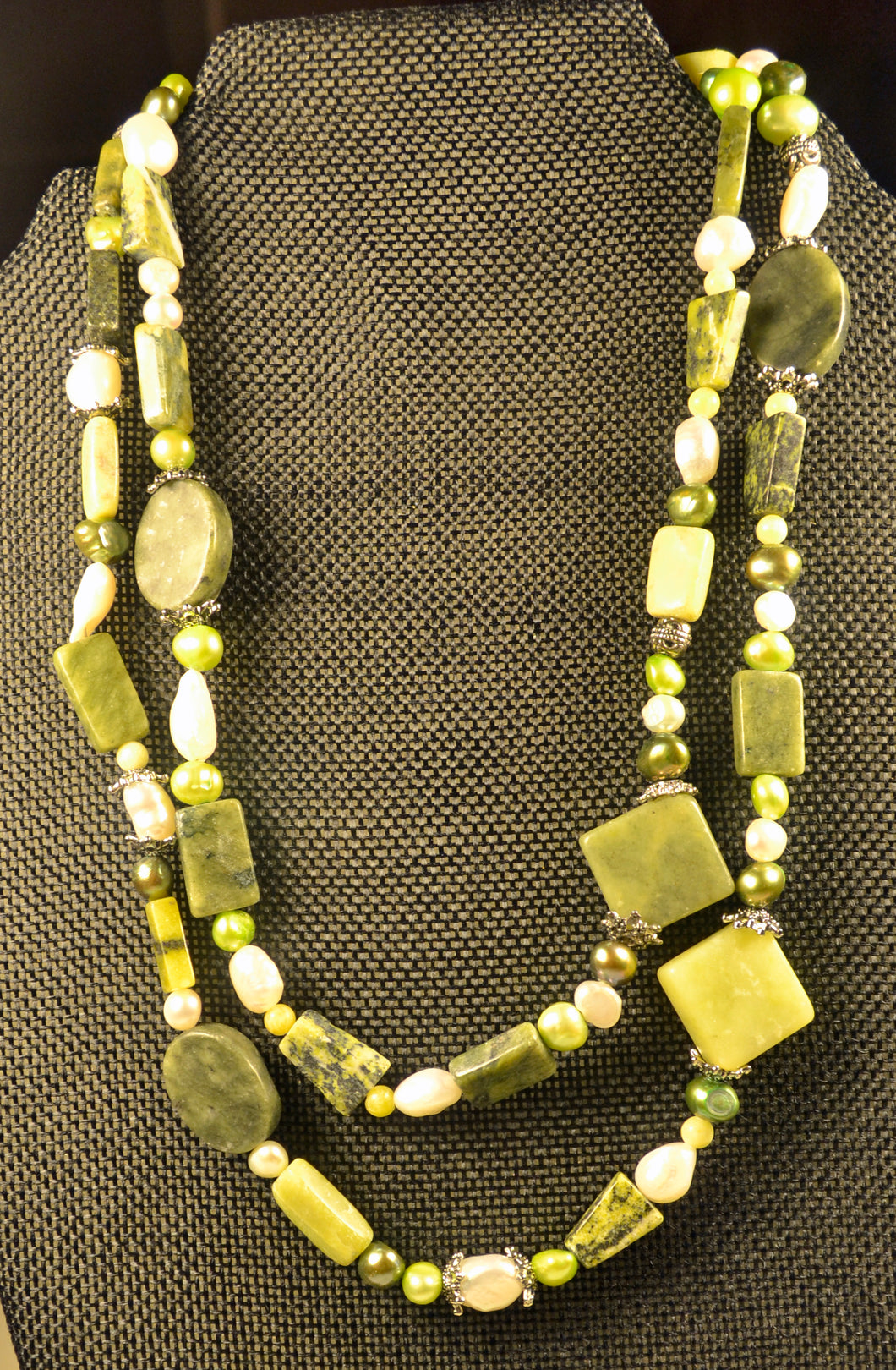Multicolored Serpentine and Freshwater Pearl Necklace