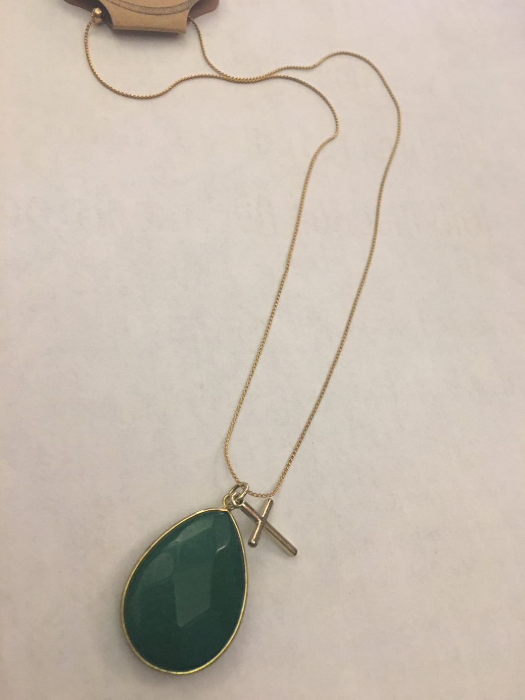 Green Stone with Golden Cross Necklace