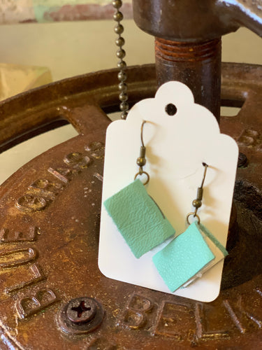 Robins Egg Mini Leather Journal Earrings