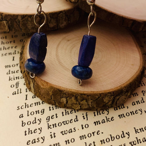 Lapis-lazuli and Surgical Steel Earrings