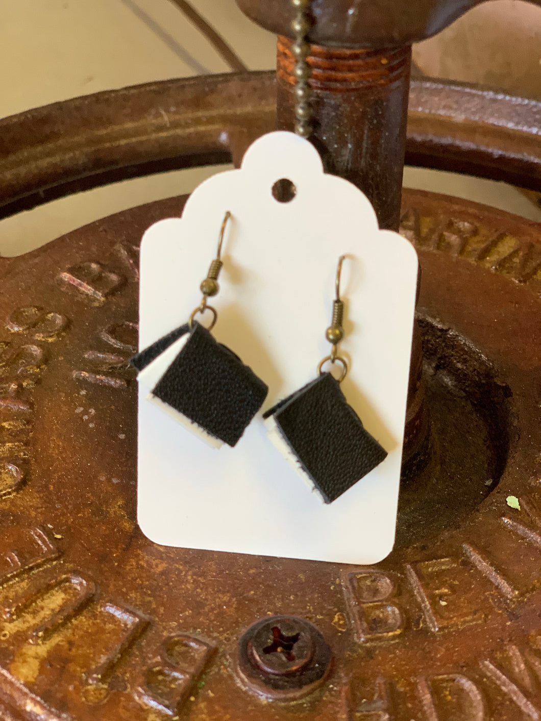 Black Mini Leather Journal Earrings