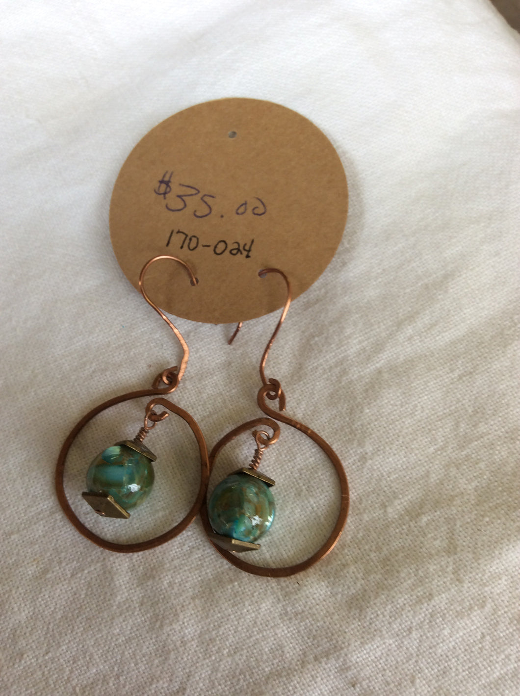Copper and Agate Beaded Earrings