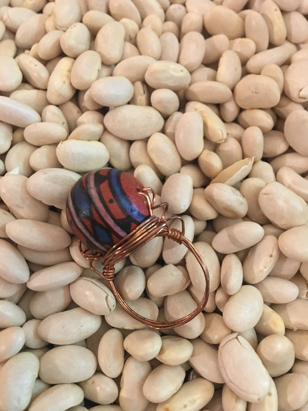 Beaded and Wire Wrapped Ring