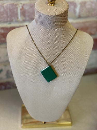 "30"" Jade Mini Leather Journal Necklace"