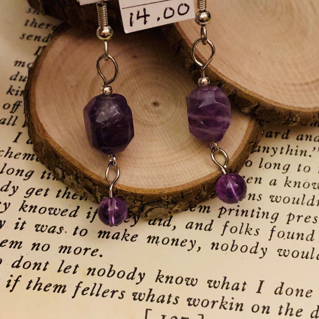 Amethyst and Surgical Steel Earrings 2