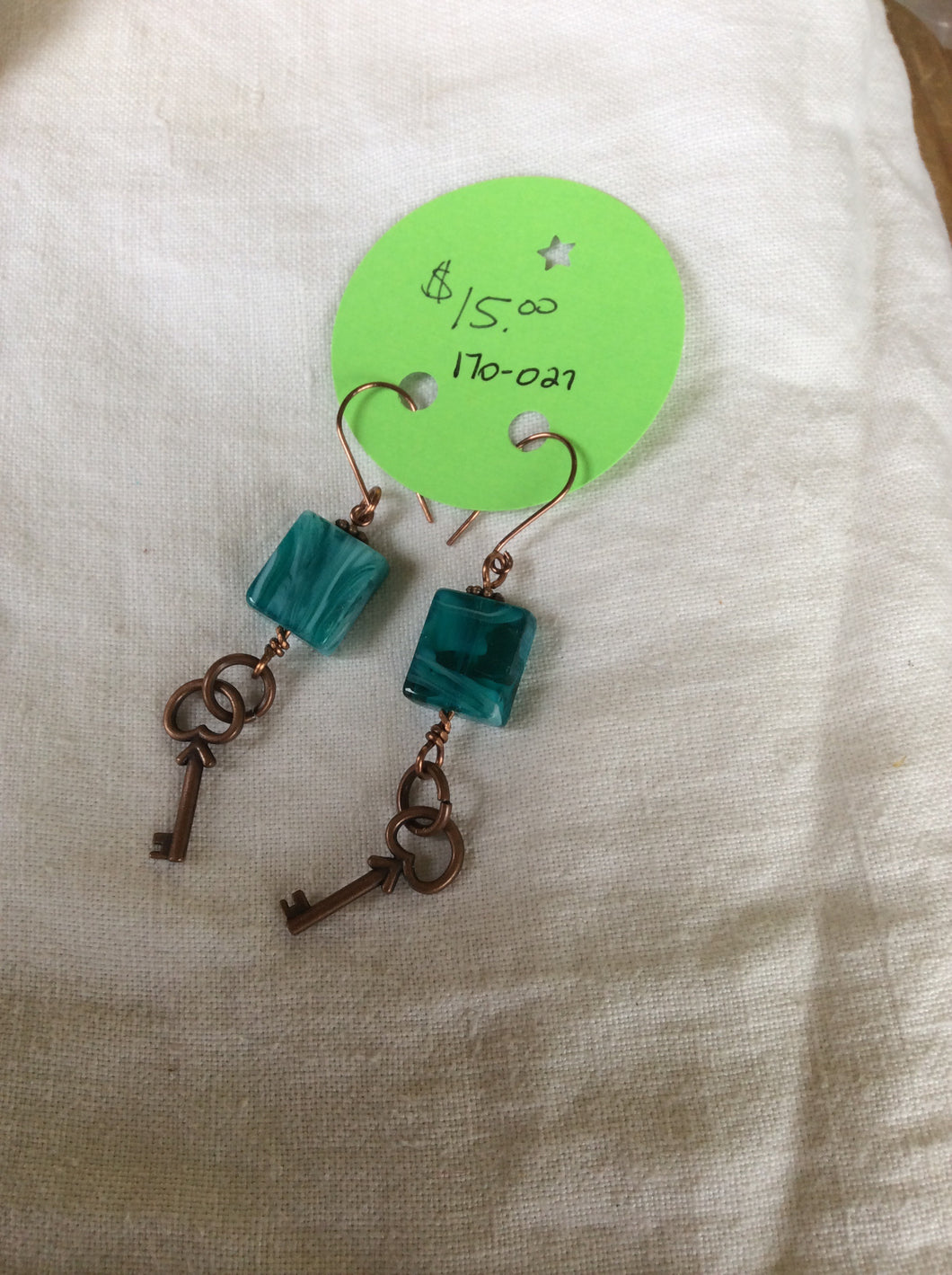 Copper, Turquoise and key Earrings.