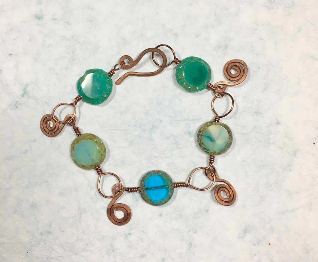 Handcrafted Copper and Czech Glass Beaded Bracelet