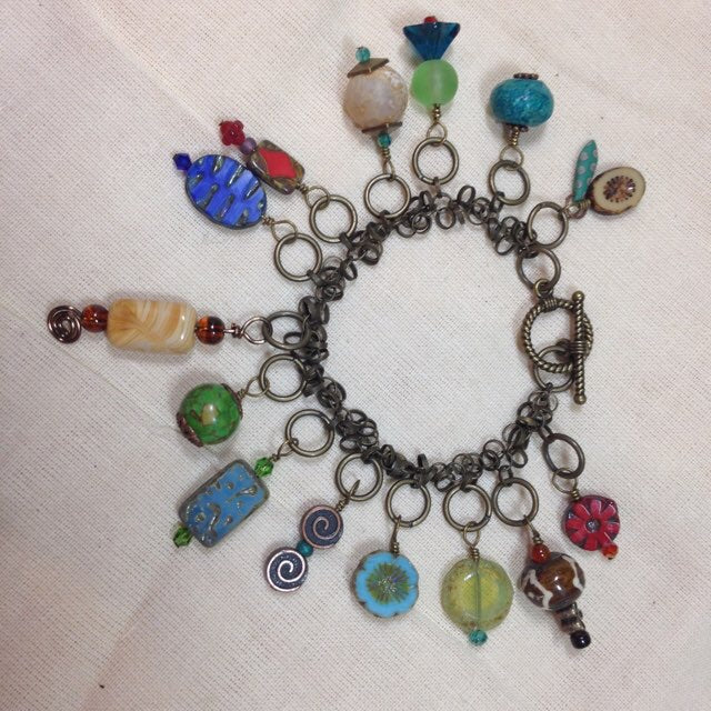Sea and Czech Glass Bead Charm Bracelet
