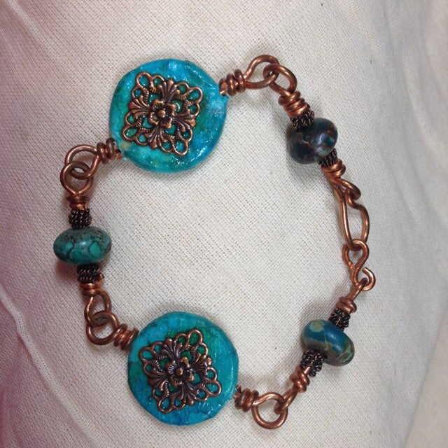 Copper and Decoupaged Bracelet