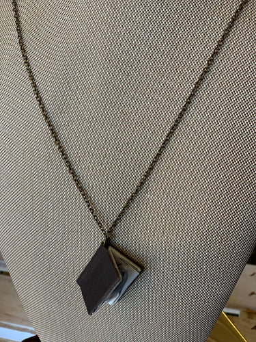 "24"" Espresso Mini Leather Book Necklace"