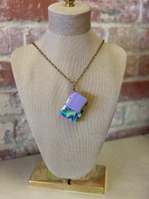 "30"" Floral and Lavender Double Mini Leather Journal Necklace"