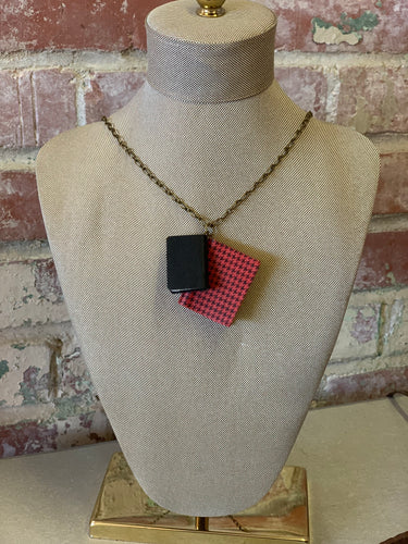 "31"" Red Houndstooth Double Mini Leather Journal Necklace"