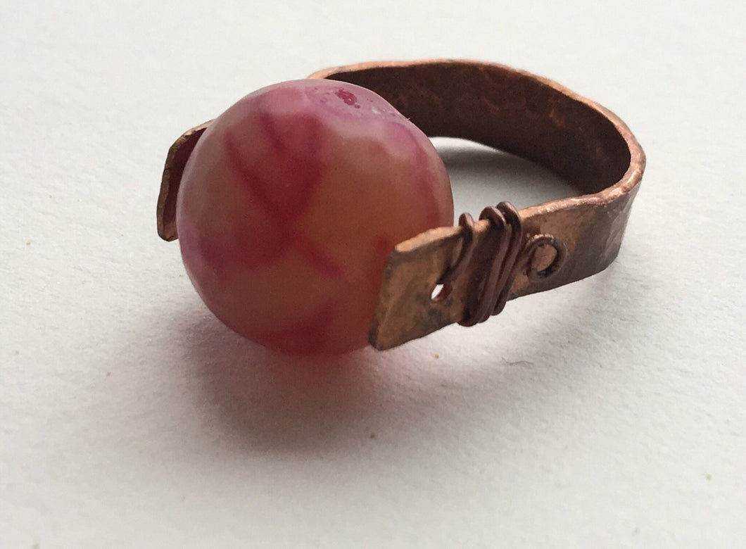Chunky Copper and Punk Stone Ring