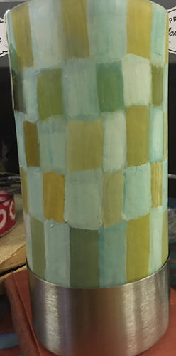 Shades of Green Painted Lamp