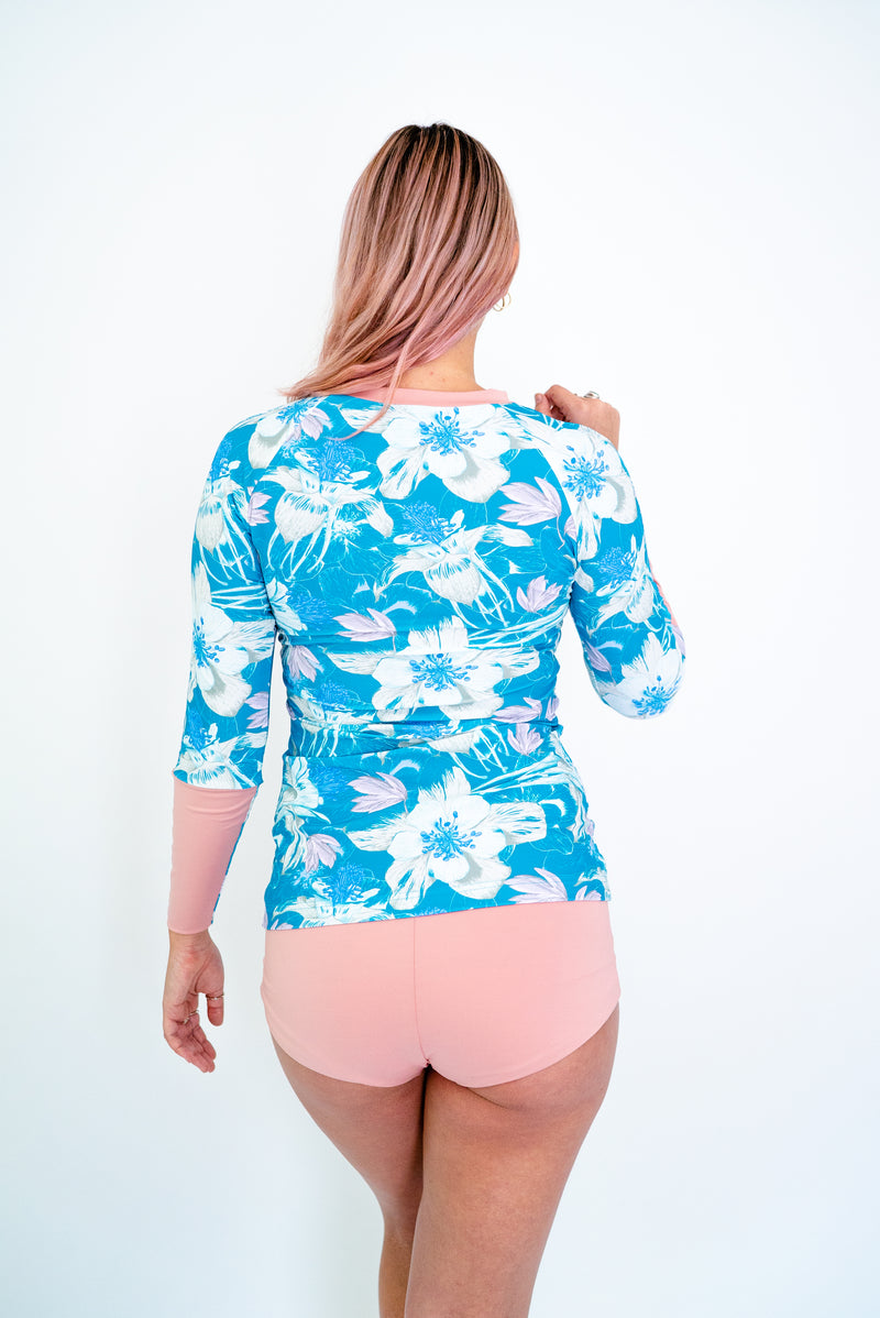 The TANI Rash Guard in Blue & Blush