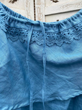 Lilly Linen + Lace Top - Stone Blue