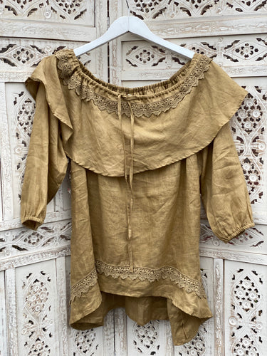Lilly Linen + Lace Top - Sand