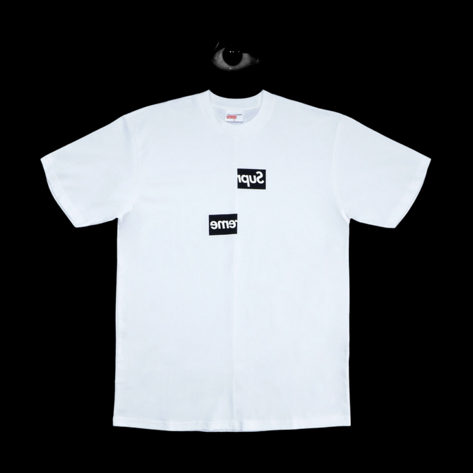 Supreme CDG Split Box Logo Tee- White