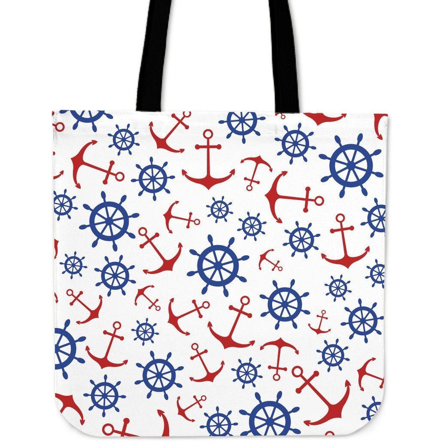 Canvas tote bags on wheels - Anchors Wheels Cloth Tote Bag