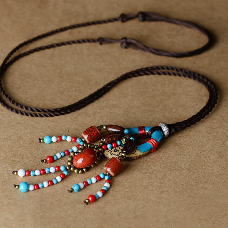 Necklace - Aboriginal Inspired Pottery & Bead Necklace