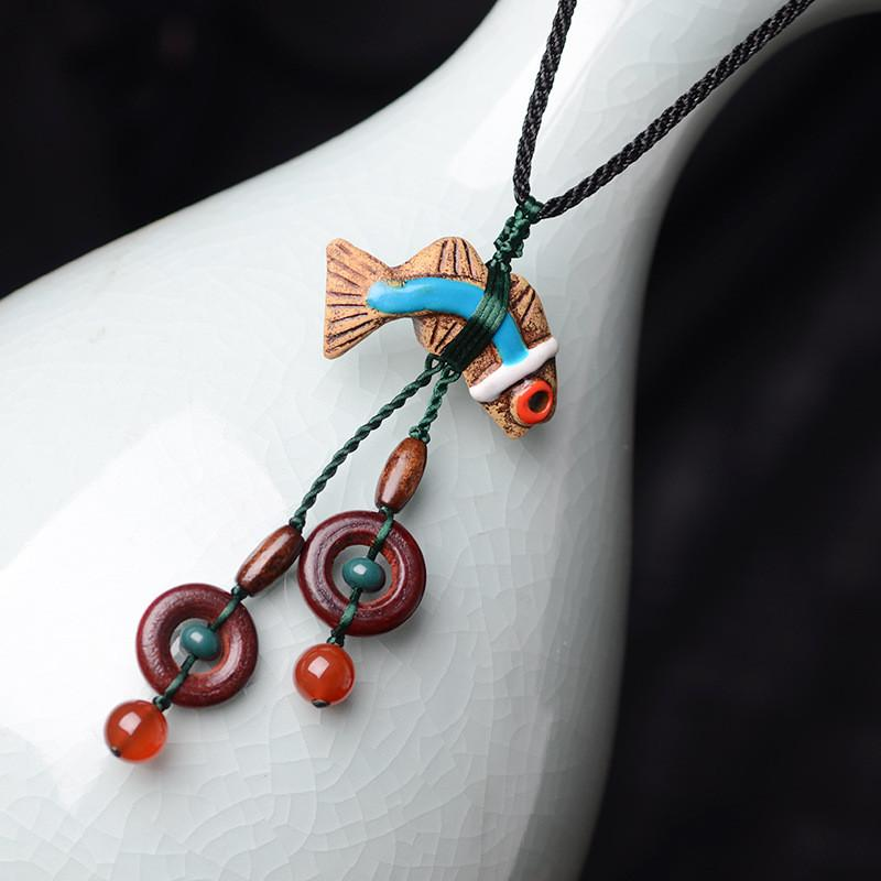 Neclace - Aboriginal Inspired Pottery & Stone Fish Necklace