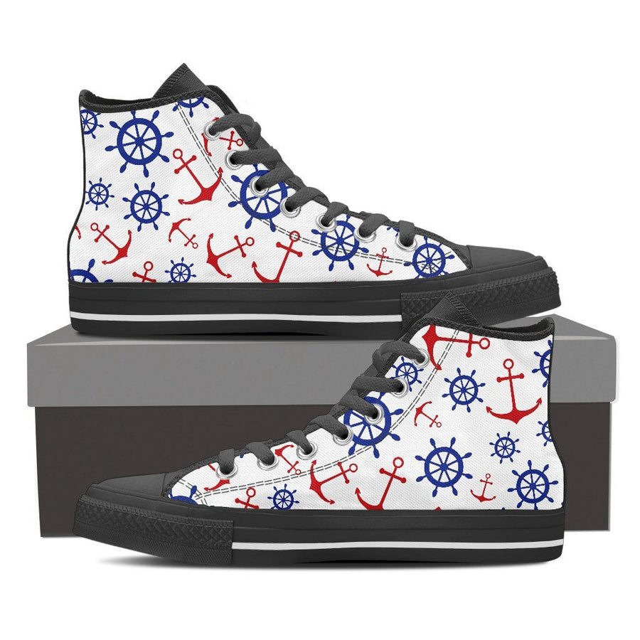 Shoes - Anchors & Wheels - Women's High Top Canvas Shoes