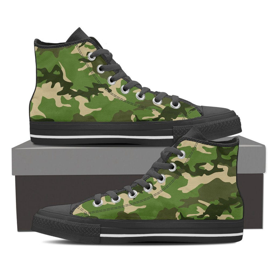 Shoes - Camouflage Jungle - Women's High Top Canvas Shoes