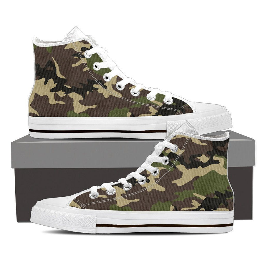 Shoes - Camouflage Woodland - Men's High Top Canvas Shoes